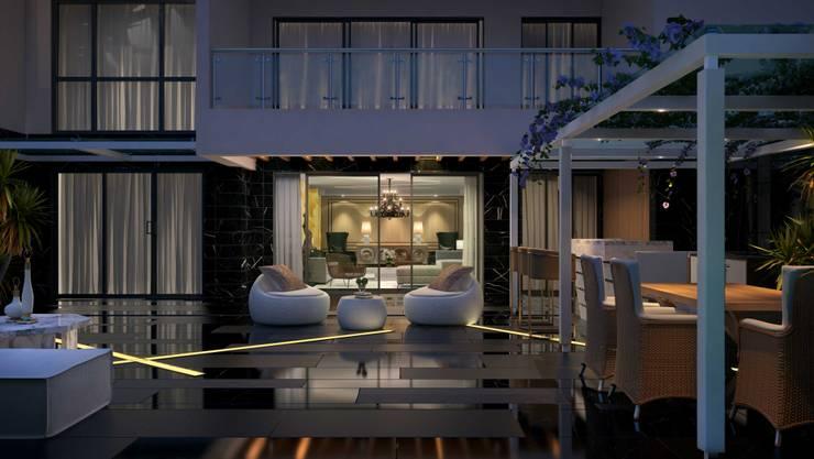 Apartment with a Terrace :  Terrace by Aijaz Hakim Architect [AHA]