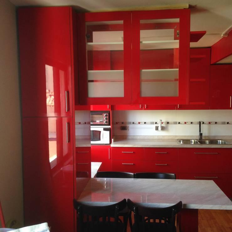 Cocina roja brillante: Centros Comerciales de estilo  por N.Muebles Diseños Limitada