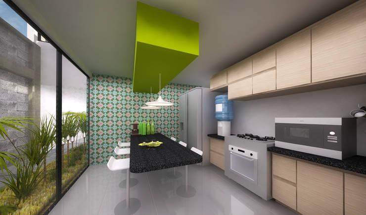 Cocina. CASA C+M: Cocinas de estilo  por Molcajete Arquitectura Interiores Diseño