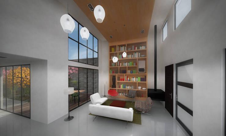 Sala. CASA C+M: Salas de estilo  por Molcajete Arquitectura Interiores Diseño