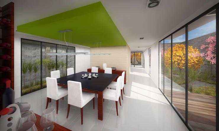 Comedor. CASA C+M: Comedores de estilo  por Molcajete Arquitectura Interiores Diseño