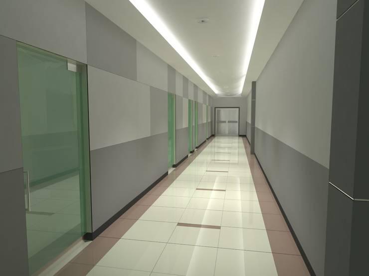 Seemann SA. de CV. Pasillo Interior: Pasillos y recibidores de estilo  por FyA Arquitectos