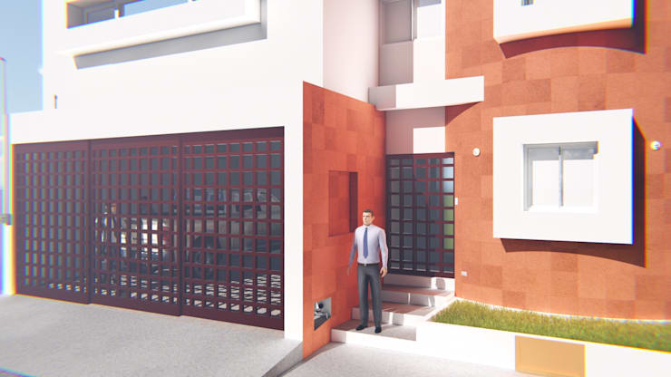 Fachada Casa Sr. Rubén.: Casas de estilo  por FyA Arquitectos