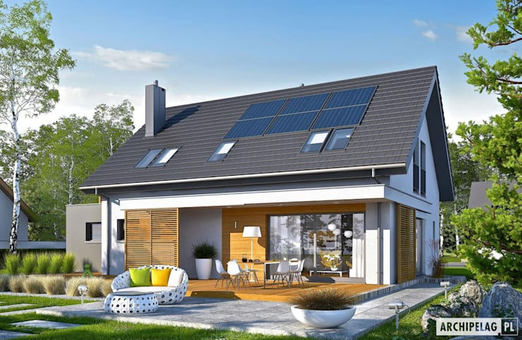 PROJEKT DOMU LOGAN G1 : styl , w kategorii Domy zaprojektowany przez Pracownia Projektowa ARCHIPELAG