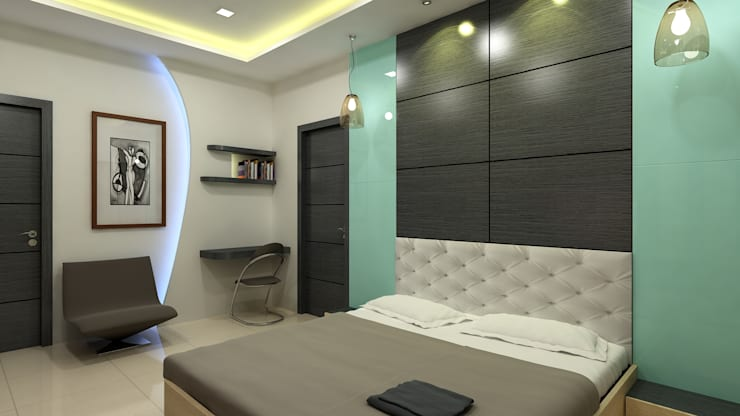 Duplex in Indore:  Bedroom by Shadab Anwari & Associates.