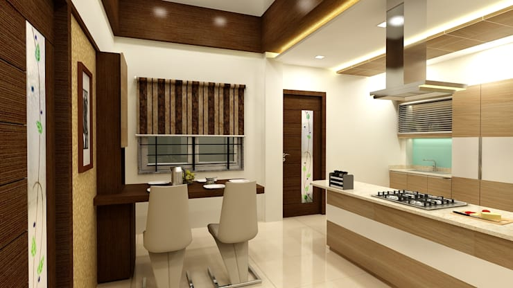 Duplex in Indore:  Dining room by Shadab Anwari & Associates.