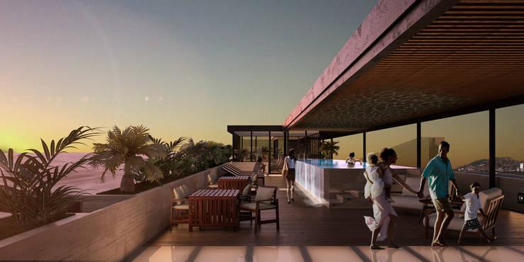 Departamentos Punta Caracol - A.flo Arquitectos: Terrazas de estilo  por A.flo Arquitectos
