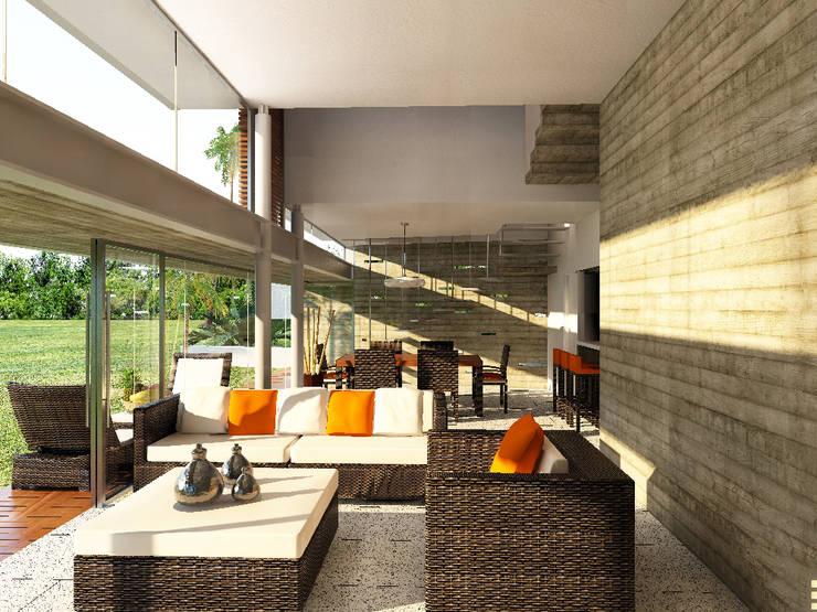Soggiorno moderno di A.flo Arquitectos Moderno Cemento