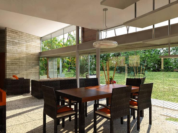 Sala da pranzo moderna di A.flo Arquitectos Moderno Cemento