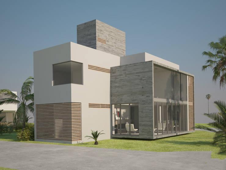 Balcone, Veranda & Terrazza in stile moderno di A.flo Arquitectos Moderno Cemento