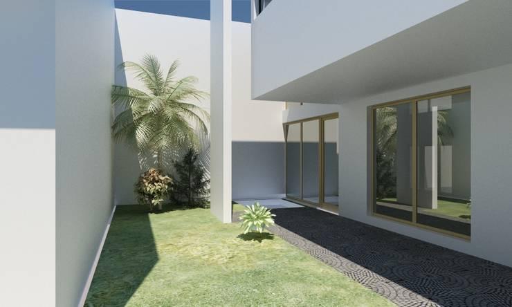 Jardin de style  par JAPAZ arquitectura arte diseño, Minimaliste Briques