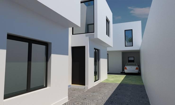 Maisons de style  par JAPAZ arquitectura arte diseño, Minimaliste Briques