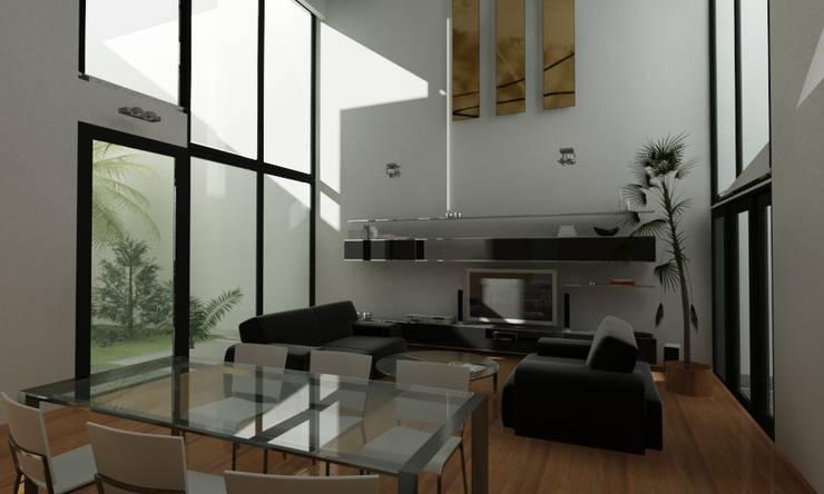 Salon de style  par JAPAZ arquitectura arte diseño, Minimaliste Bois Effet bois
