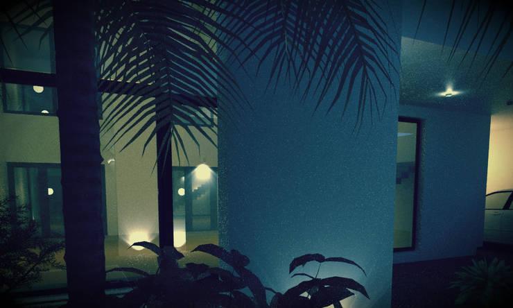 Jardin de style  par JAPAZ arquitectura arte diseño, Moderne Briques