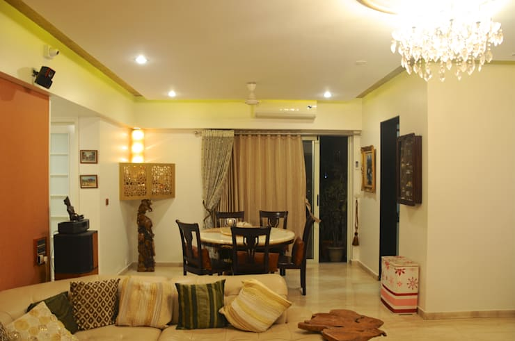 Residence in Goregaon:  Dining room by Design Kkarma (India)