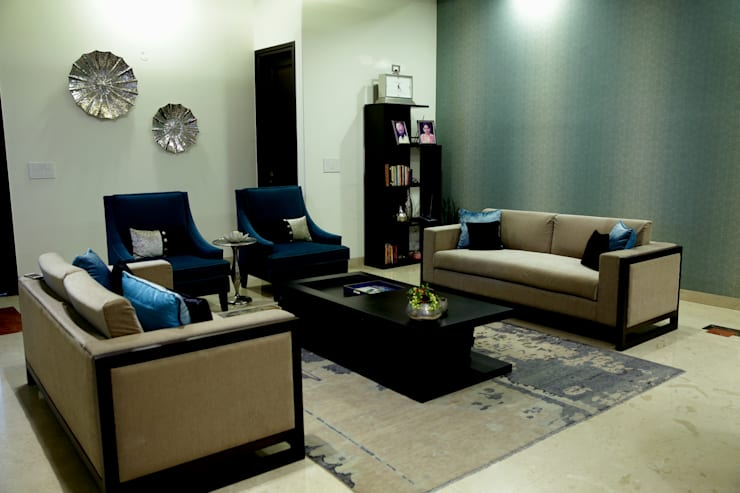 Residence: modern Living room by renu soni interior design