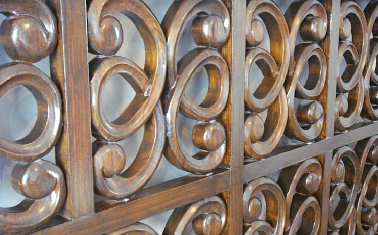 Deatiling of hand carved wooden headboard by renu soni interior design