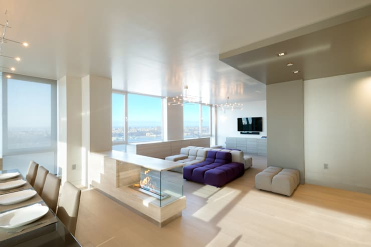 Luxury Apartment Combination:  Living room by Andrew Mikhael Architect