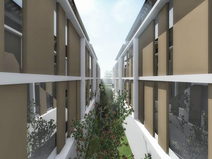 Patio interior de departamentos:  de estilo  por PABELLON de Arquitectura