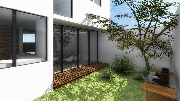 Patio interior de casa: Jardines de estilo  por PABELLON de Arquitectura