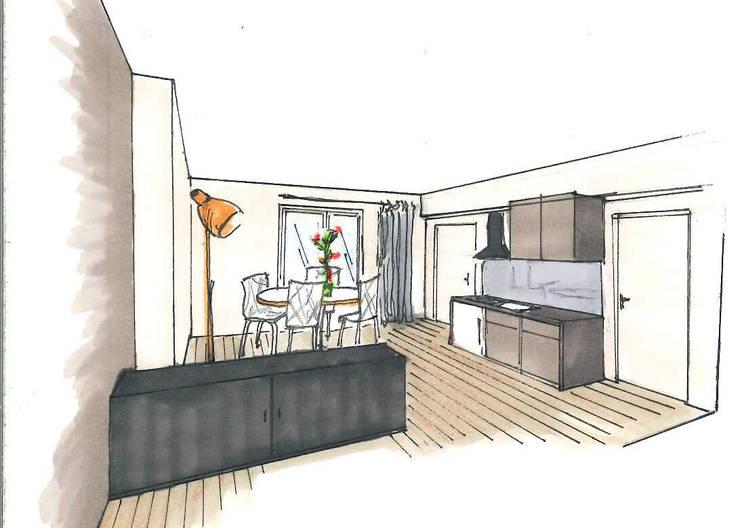 L'espace cuisine / salle à manger: Salle à manger de style  par Mon Intérieur Sur Mesure (MISM)