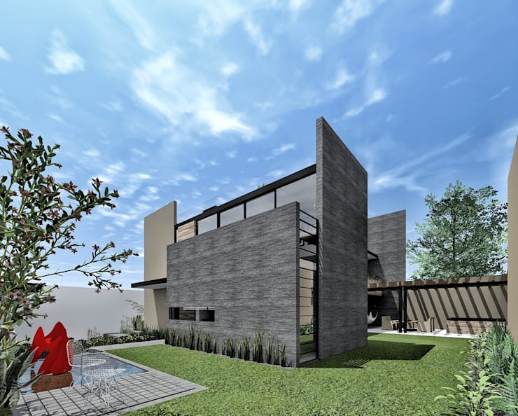 Vista desde jardín:  de estilo  por PABELLON de Arquitectura