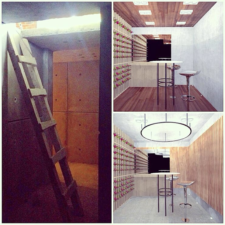 Cava: Cavas de estilo  por Molcajete Arquitectura Interiores Diseño