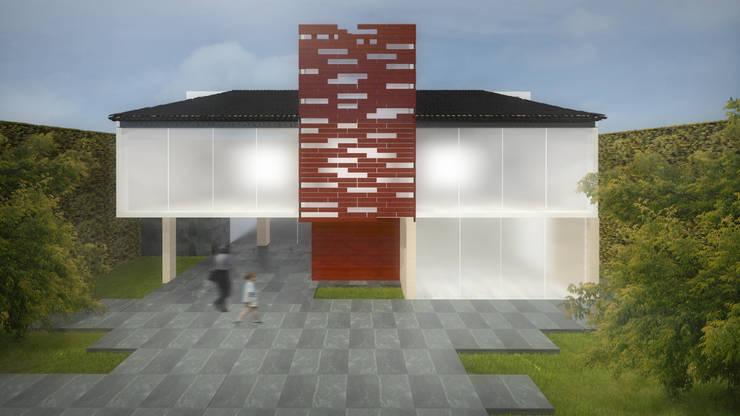Fachada de la Residencia TLX: Casas de estilo  por Molcajete Arquitectura Interiores Diseño