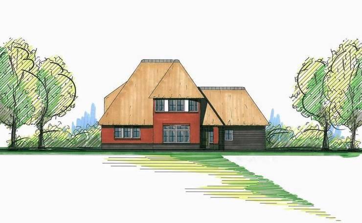 Alternatieve schets nieuwbouw vrijstaande rietgedekte villa te Apeldoorn:   door 01 Architecten