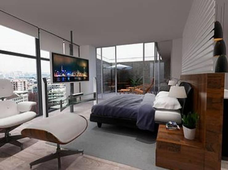 Recámara principal: Recámaras de estilo  por ArtiA desarrollo, arquitectura y mobiliario.