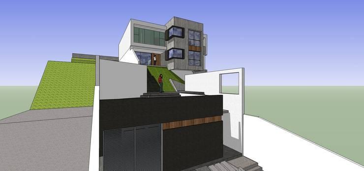 Fachada del depósito: Casas de estilo minimalista por MARATEA Estudio