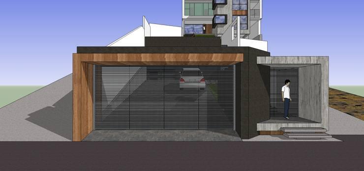 Portón de acceso externo: Casas de estilo minimalista por MARATEA Estudio