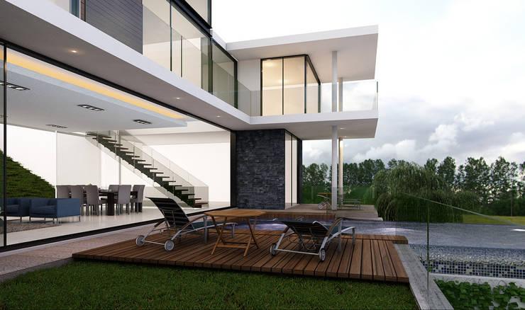 Terraza con Alberca: Casas de estilo  por AParquitectos