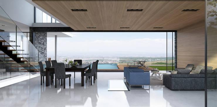 Sala Comedor terraza alberca: Terrazas de estilo  por AParquitectos