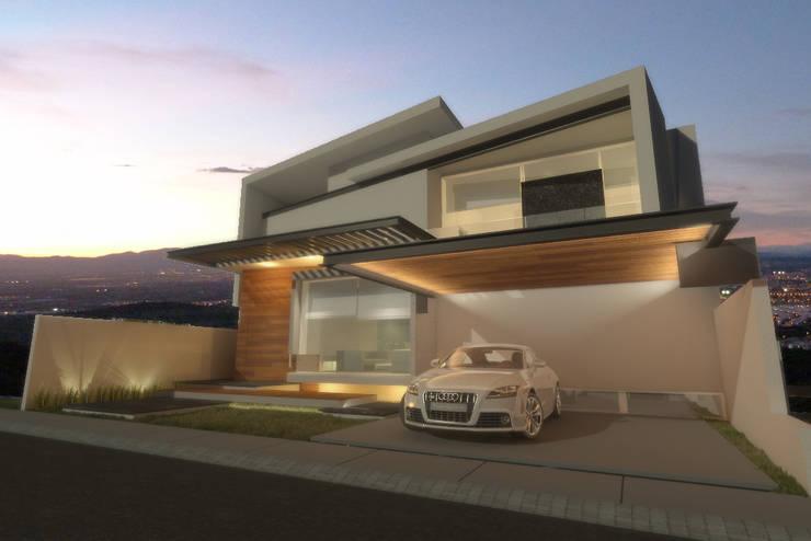 Fachada de noche: Casas de estilo  por AParquitectos
