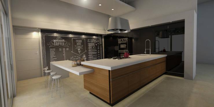 Cocina con muro de pizarrón: Cocinas de estilo  por AParquitectos