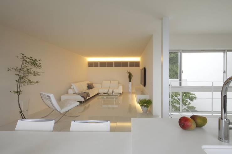 布石の家: SQOOL一級建築士事務所が手掛けたリビングです。
