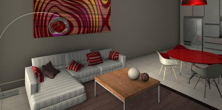 Proyecto edificio residencial: Livings de estilo  por CaB Estudio de Arquitectura