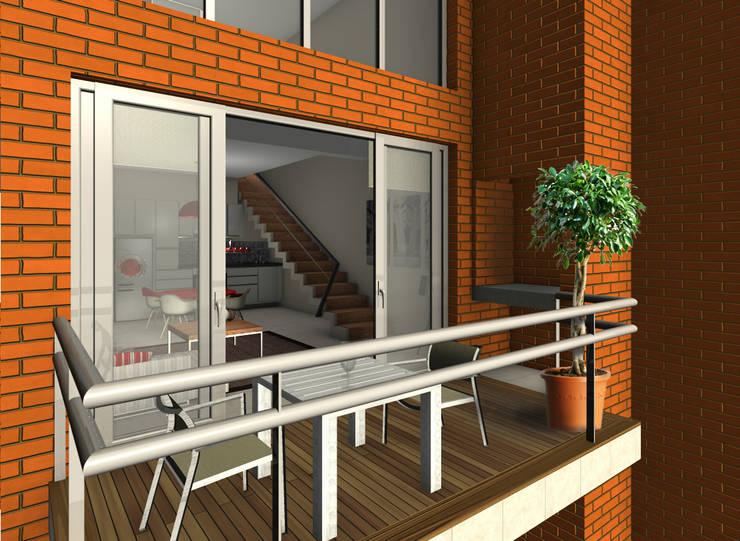 Proyecto edificio residencial: Terrazas de estilo  por CaB Estudio de Arquitectura