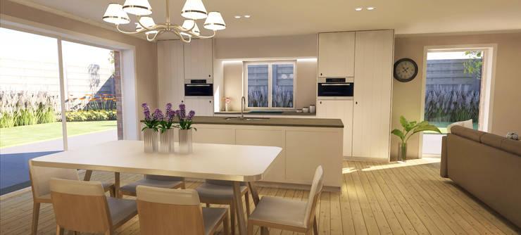 Landelijke keuken met bijpassende tafel en stoelen:  Eetkamer door AD MORE design