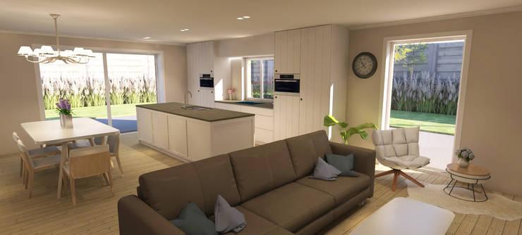 Living en eetkamer:  Eetkamer door AD MORE design