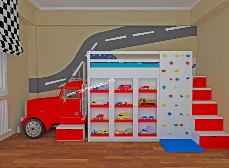 MOBİLYADA MODA  – TIR KONSEPTLİ ÇOCUK ODASI, İzzet's Truck Store :  tarz Çocuk Odası, Modern Ahşap Ahşap rengi