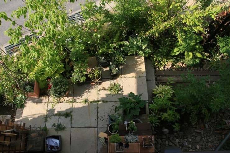 雑木に囲まれるテラス: 株式会社ガーデンホリックが手掛けたカントリーです。,カントリー 石