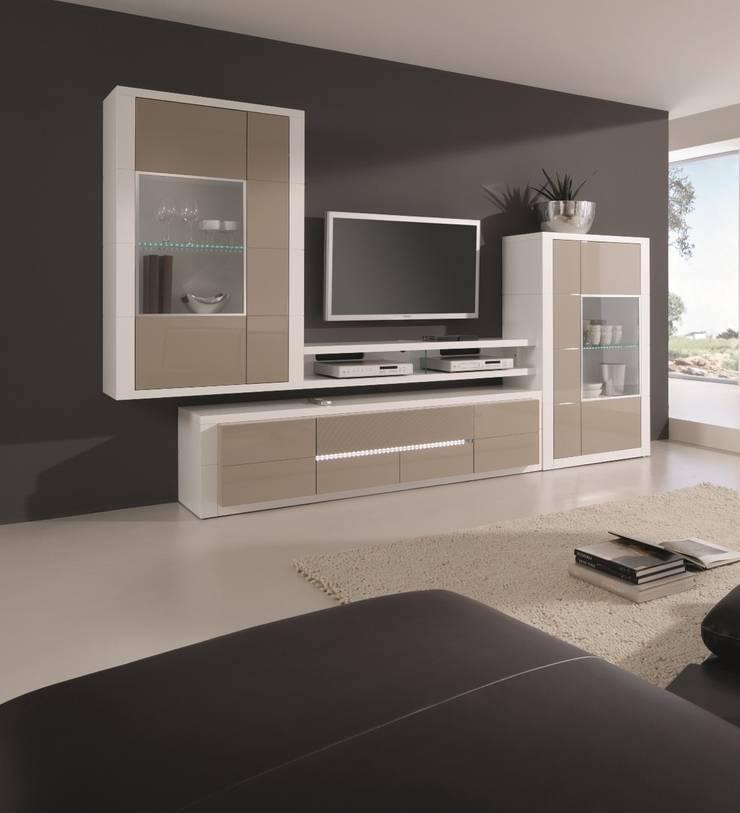 Mobiliário de sala de estar Living room furniture www.intense-mobiliario.com  AG1 http://intense-mobiliario.com/pt/salas-de-estar/8557-estante-aragon-a1.html: Sala de estar  por Intense mobiliário e interiores;