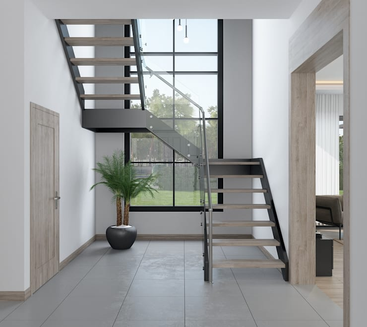 F&F mimarlik – Panorama villaları:  tarz Koridor ve Hol, Modern Demir/Çelik
