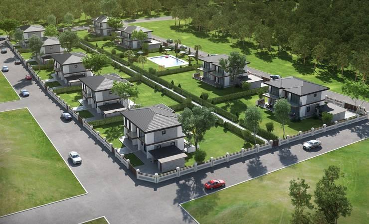 F&F mimarlik – Panorama villaları:  tarz Bahçe, Modern Demir/Çelik
