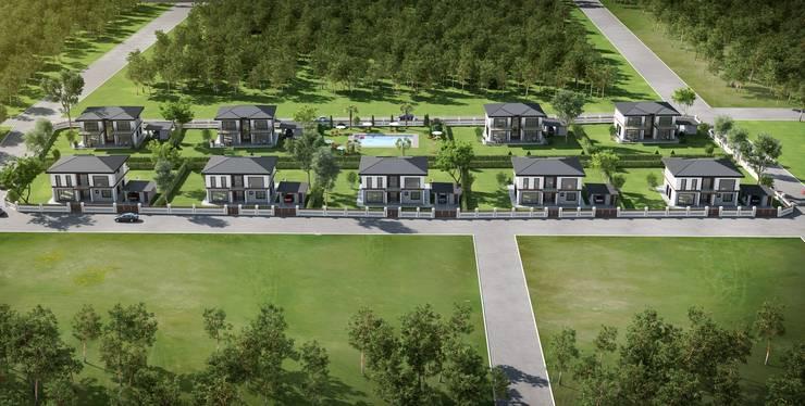 F&F mimarlik – Panorama villaları:  tarz Bahçe, Akdeniz Ahşap Ahşap rengi