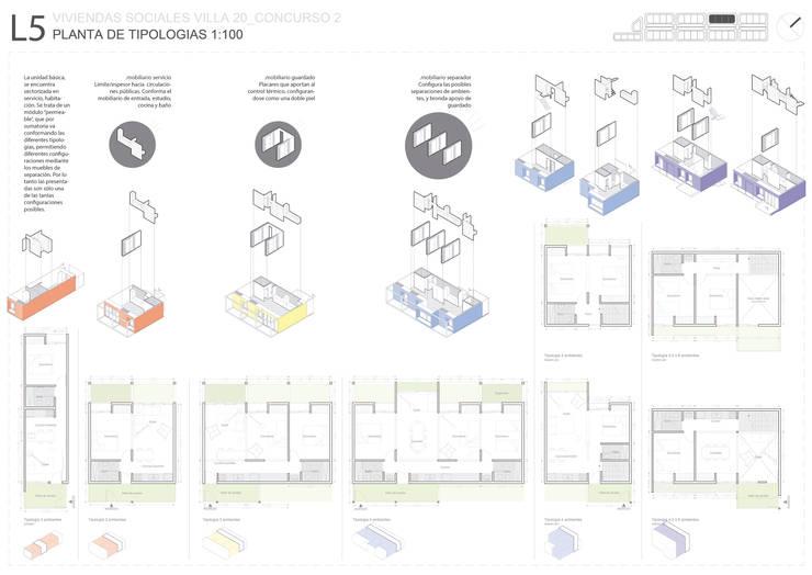 Tercer Premio CONCURSO N2 VIVIENDA SOCIAL VILLA 20:  de estilo  por 1.61 Arquitectos