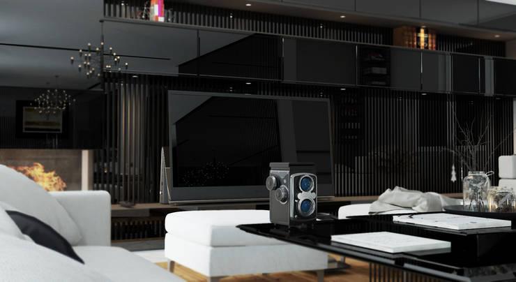 GN İÇ MİMARLIK OFİSİ – Oturma odası: modern tarz , Modern Beton