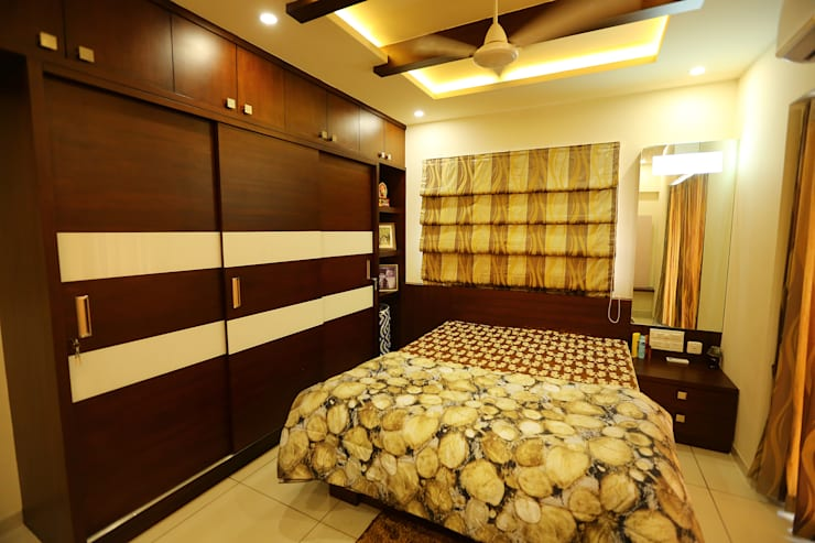 Independent house Manglore..:  Bedroom by Ashpra Interiors